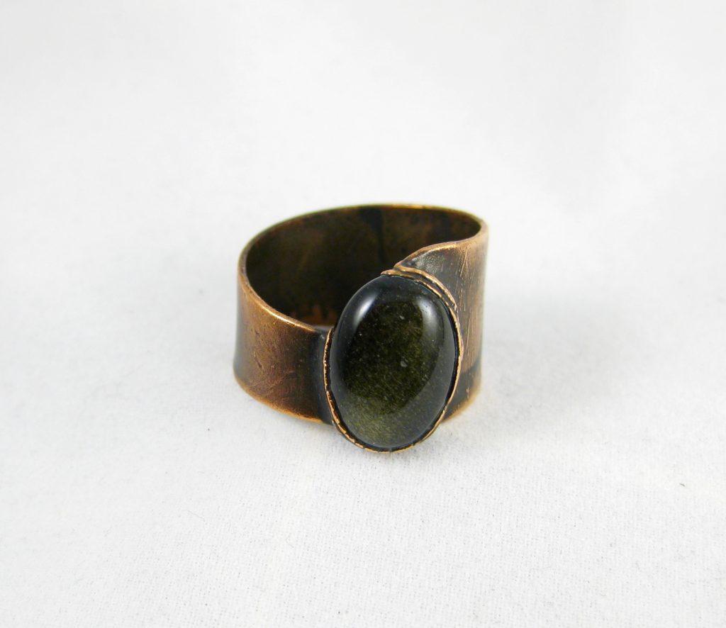 Brede ring met obsidiaan